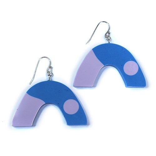 Blue and Purple Resin Arch earrings