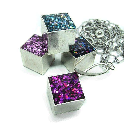 Resin and Glitter Cube Necklace