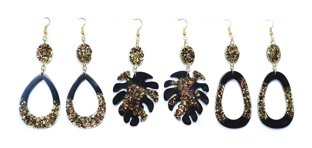 Black and gold Resin Earring Collection